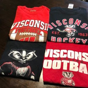 Tops - Set of 4- Wisconsin badger t-shirts